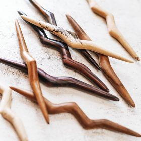 The pala hairsticks in rosewood aerial view